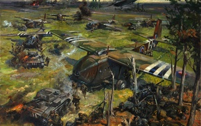 "Picture picture, the artist Terence Cuneo, oil, ""The operation on the coast"", canvas"