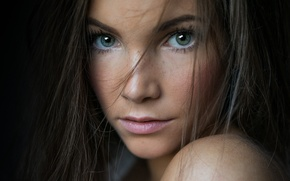 Picture girl, face, background, model, portrait, makeup, freckles, brown hair, beautiful, studio, blue-eyed, cute, beauty, german, …