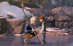 Picture ice, sand, snow, cartoon, boy, fantasy, staff, DreamWorks, Jack Frost, Rise Of The Guardians, Jamie