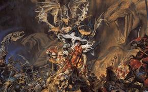 Picture horse, battle, warriors, skeletons