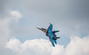 Picture clouds, flight, fighter, Flanker, Su-27