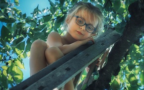 Picture tree, mood, glasses, ladder, girl