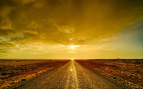 Picture road, the sky, clouds, sunset, desert, horizon
