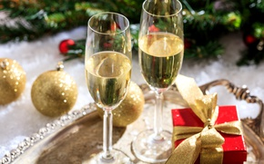 Picture holiday, gift, wine, balls, toys, glasses, New year, champagne, ribbon, tray, bokeh, box