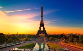 Wallpaper colorful, Paris, France, Eiffel tower, the city, beautiful france, Paris sunset, sunset