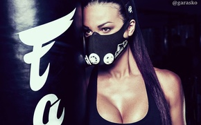 Wallpaper sport, fitness model, Mike, brunette, photographer, girl, Oxy Konovalova, chest, pear, mask, Pavel Garasko