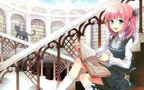 Picture books, girl, railings, stage, library, knee, blue eyes, the dome, pink hair, black kitten, by …