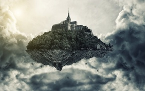 Picture clouds, castle, island, height, art, in the sky, flying