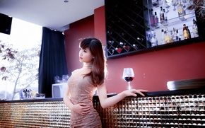 Picture girl, mood, wine, glass, Asian