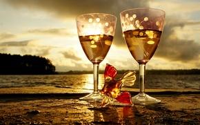 Picture glass, water, the sun, landscape, sunset, fish, fish, glasses, figure