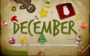 Picture snow, gift, star, tree, new year, snowman, Santa Claus, bell, holidays, December, desember