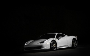 Picture white, night, white, ferrari, Ferrari, front view, night, Italy, 458 italia, headlights