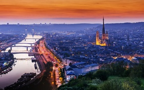 Picture the city, lights, the evening, Normandy, Rouen, France
