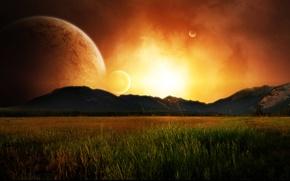 Wallpaper the moon, the sun, the sky, grass, mountains