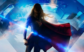 Picture girl, fiction, costume, the series, poster, superhero, DC Comics, Supergirl, 2015, Melissa Benoist, Melissa Benoist, ...