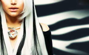 Picture girl, model, blonde, decoration, necklace, Anna Subbotina