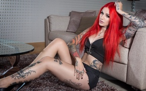 Picture girl, feet, body, hands, red, girl, decoration, red, tattoo, painting, model, tattoo, fire, Cervena Fox