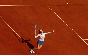 Wallpaper the ball, racket, Maria Sharapova, court