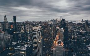 Picture clouds, street, New York, panorama, twilight, Manhattan, United States, rainy