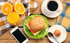 Picture coffee, Breakfast, juice, sandwich, good morning