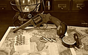 Wallpaper bullets, revolver, compass, trunk, map