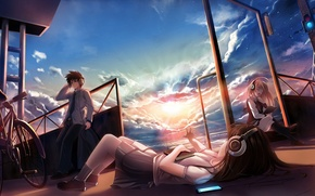 Picture sea, the sun, clouds, sunset, bridge, bike, music, girls, headphones, art, book, guy, zuppon