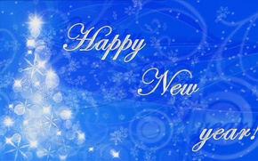 Picture white, snowflakes, text, abstraction, blue, tree, new year