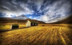 Picture autumn, grass, landscape, mountains, house
