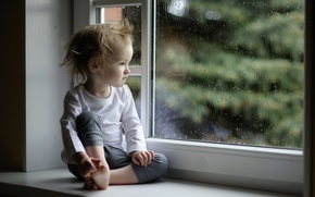Picture glass, drops, rain, child, window, girl, sill