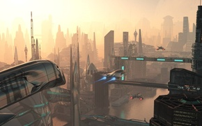 Picture future, sky, spaceships, towers, megapolis, hazydays