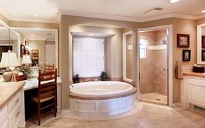 Picture design, Villa, mirror, lamp, wardrobe, Bath, Design, Bathroom, Interior