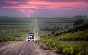 Picture road, the sun, sunset, truck