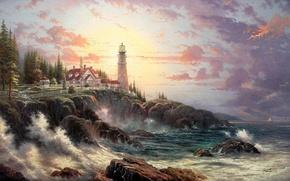 Wallpaper wave, shore, lighthouse, house, thomas kinkade