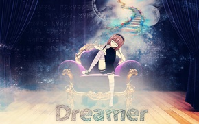 Picture dreams, sleep, chair, anime, art