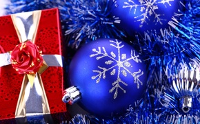 Picture holiday, box, gift, new year, new year, tinsel, red, bow, blue, packaging, Christmas balls