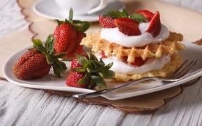 Picture berries, strawberry, cake, cream, dessert, waffles, sweet, strawberry, cream, dessert, berries