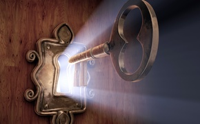 Picture light, castle, key, the door, hole