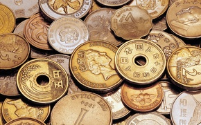 Picture background, money, characters, coins, a lot, Asian