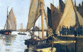 Wallpaper Claude Monet, picture, seascape, Sailing ships at Honfleur