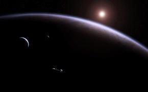Wallpaper stars, planet, satellites, spaceship, the giant