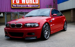 Picture glass, red, reflection, wall, bmw, BMW, the fence, red, sign, air conditioning, e46, back yard