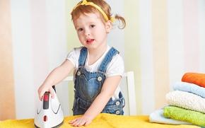 Wallpaper girl, child, child, little girl, little, iron, kid