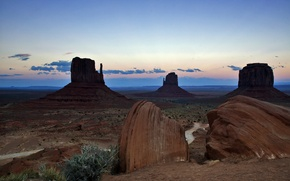 Picture the sky, clouds, mountains, rocks, the evening, USA, monument valley