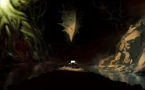 Picture computer, face, water, trees, roots, dragon, monster, art, cave