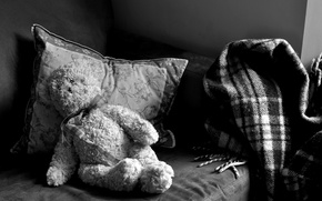 Picture loneliness, sofa, bear, plush, longing, black and white, pillow.blanket