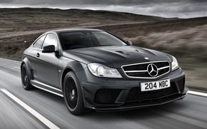 Picture road, the sky, black, Mercedes-Benz, Mercedes, supercar, AMG, Coupe, the front, AMG, ц63, Black Series, …