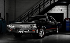 Picture garage, twilight, chevrolet, muscle car, Chevrolet, chevelle ss