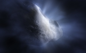 Picture art illustration, Comet Tempel, short-period comet of the Jupiter family