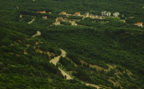 Picture road, trees, height, Crimea