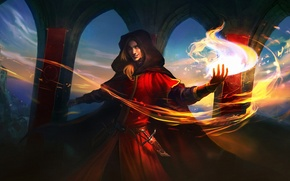 Wallpaper cloak, hood, MAG, guy, magic, dagger, castle, arch, fire